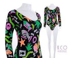 d1433db7e1 Vintage Bodysuit Deadstock NWT 1992 Neon Abstract Print Women's Size XS /  Nylon Spandex Leotard Jumpsuit Romper 90s Rave Club Retro Swimsuit