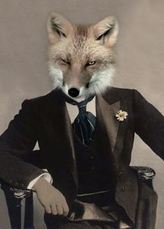 Talbot Fox, Vintage Fox Print, Anthropomorphic, Wildlife Art, Altered Photo, Photo Collage, Whimsical Art, Fox Art, Unique Gift, Quirky Art