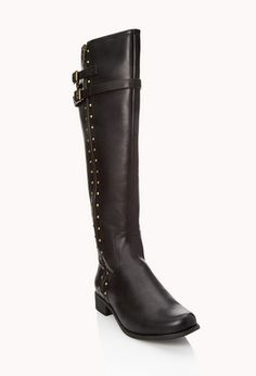 Wide Calf Studded Boots | FOREVER 21 - 2000111249