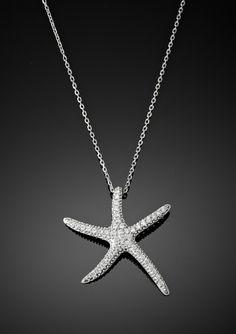 pave starfish necklace