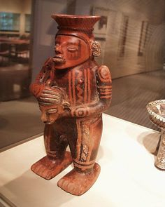 Ceramic warrior figure with trophy head from the Atlantic Watershed culture of Costa Rica (500 AD - 1000 AD) at the Denver Art Museum