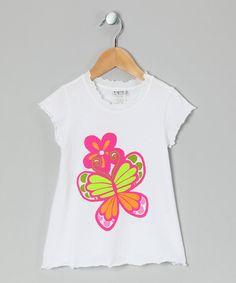Take a look at this White Butterfly Lettuce-Edge Tee - Infant, Toddler & Girls by Bubble & Squeak on #zulily today!