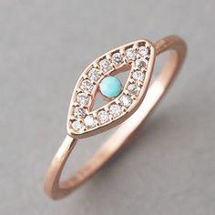 Rose Gold Evil Eye Ring Jewelry from Kellinsilver.com – turkish evil e... | Keep.com