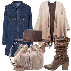 Un outfit che richiama lo stile texano senza rinunciare alla femminilità. Partiamo dal vestito in jeans, corto con taschine e bottoni in tutta la lunghezza. La mantella con le frange è di due colori sfumati luno con laltro. Lo stivale con tacco grosso è in eco pelle con borchie. La borsa beige è interamente in pelle. Il cappello unisex è in lana.