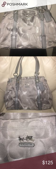 . Gorgeous Coach!! 🎉Steal of a Deal🎉Stunning.  Charcoal body with silver stitching charcoal leather handles and accents.   Horse and carriage emblem.  A couple of spots on the bottom as shown in the fourth pic one small snag very small .   No stains inside.  EUC  Very hard to photograph so shiny.  It's just beautiful. 💕bundle and save💕 Coach Bags Shoulder Bags