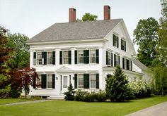 white house, black shutters, classic architecture