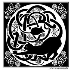 Celtic Cat and mouse I like this there are animals chasing each other hidden in The Book of Kells - even a cat and mouse