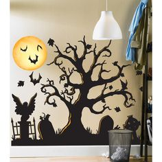 Halloween Spooky Cemetery Giant Wall Decals | BuyCostumes.com