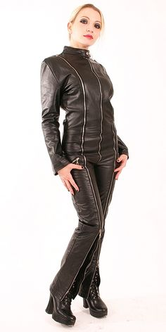 Multi Ziper black Leather Overall