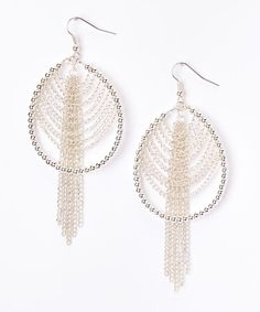 Silver Chain Tassel Hoop Earrings | zulily