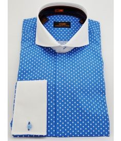 BLUE - 100% COTTON SHIRT WITH CONTRAST CUTAWAY COLLAR, FRENCH CUFF, AND HIDDEN PLACKET Steven Land