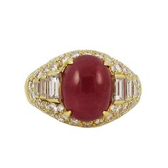 Bulgari Cabochon Ruby Diamond Gold Ring | From a unique collection of vintage cocktail rings at https://www.1stdibs.com/jewelry/rings/cocktail-rings/