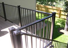 Railings deck railings and decks on pinterest for Garden decking hinckley