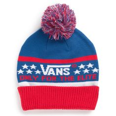 905bb737a8 Vans Shop Elite Beanie  UNBRWB  - The Elite Beanie is a acrylic cuffed knit  beanie with jacquard  Vans Only For The Elite  logo and pom pom.