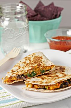 Sweet potato, black bean and kale quesadillas--leave off the cheese, and its a fab vegan meal