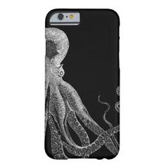 #vintage - #Black and White Octopus Smart Phone Case