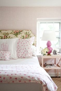 At Home: Fresh Florals. Pretty fem floral headboard, but so not Laura Ashley!