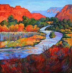 Leaving Zion II Canvas Print / Canvas Art by Erin Hanson Erin Hanson, Abstract Landscape, Landscape Paintings, Abstract Art, Southwestern Art, Modern Impressionism, Impressionist Paintings, Henri Matisse, Art Pages