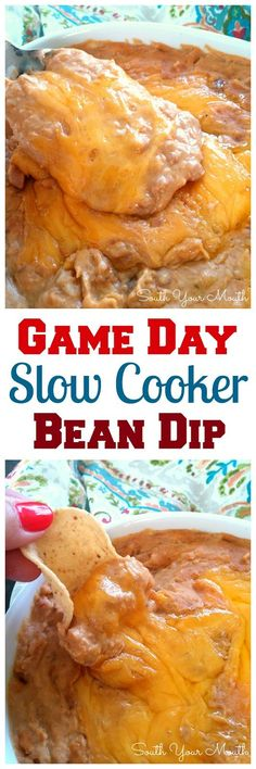 Game Day Slow Cooker Bean Dip | Super easy, big batch recipe perfect for tailgating and parties with just 5 ingredients!