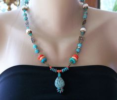 Vibrant Turquoise Necklace Southwestern Desert Beauty Birthday Gift Wedding Anniversary Modern Colorful Summer Unique Feminine Sexy. $47.00, via Etsy.