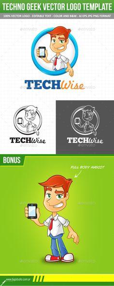 Tech Geek Vector Logo Template & Mascot #graphicriver #geek #techie #smartphone #mobile #nerd #smart #cartoon #vector #guy #mascot #logo #technology #repair