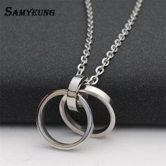Samyeung 2017 Charms Stainless Steel Double Round Pendant Silver Necklace Chain Neclace Homme Neckless Women Collier Men Jewelry