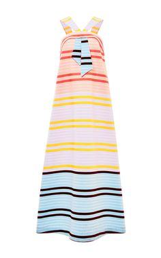 Neon Stripe Faux Tie Maxi Dress by Suno at Moda Operandi