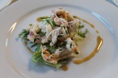 Local Shrimp Ceviche over a Frisee Salad featured at Venetian Wine Dinner 8-15-14