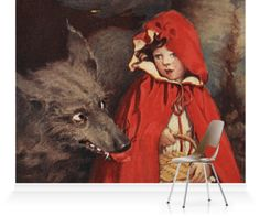 He walked along with Red Riding Hood for a while'. Illustration taken from 'A Child's Book of Stories'.