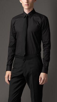 Burberry Slim Fit Stretch Cotton Blend Shirt