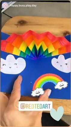Hand Crafts For Kids, Animal Crafts For Kids, Toddler Crafts, Art For Kids, Rainbow Crafts, Rainbow Activities, Craft Activities For Kids, Rainbow Card, Pop Up Karten