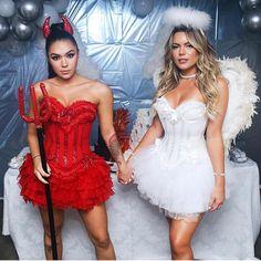 angel halloween costumes Fantasias Diabinha e Anjinha Carrie Halloween Costume, Cute Couple Halloween Costumes, Halloween Fashion, Halloween Kostüm, Halloween Cosplay, Halloween Outfits, Halloween Makeup, Angel Dress Up, Angel And Devil Costume