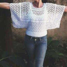Discover thousands of images about Cffd Blouse Au Crochet, Débardeurs Au Crochet, Mode Crochet, Crochet Girls, Crochet Jacket, Crochet Woman, Crochet Cardigan, Easy Crochet, Crochet Stitches
