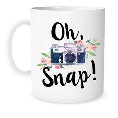 The Coffee Corner - Oh, Snap! Camera Mug - 11 Ounce White Ceramic Coffee or Tea Mug - Gift for Photographer - Photography Cup - Christmas Present - Photo Editing Mug