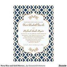 Navy Blue and Gold Moroccan Wedding Invitations 13 Cm X 18 Cm Invitation Card