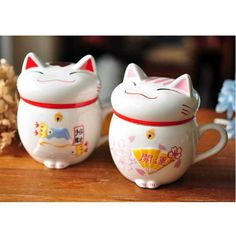 Real Beer Caneca Wholesale Lucky for Cats Animal Ceramic Coffee Tea Cup,cute Maneki Neko Mug,creative Water Cup Gifts Pink/red
