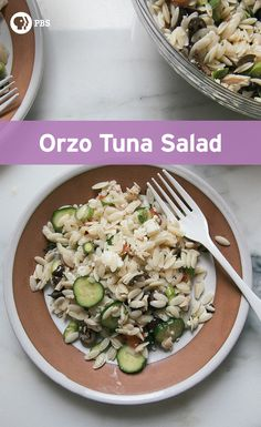 Orzo tuna salad is a great appetizer or side salad for a picnic or Summer bbq.