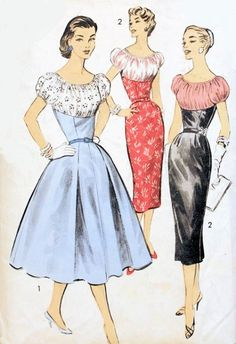 1950s COCKTAIL PARTY DRESS PATTERN FLATTERING GATHERED BUST SHELF BODICE, PUFFED SLEEVES, SLIM or FULL SKIRTED, GREAT FOR SHEER FABRICS ADVANCE 8008 Bust 34