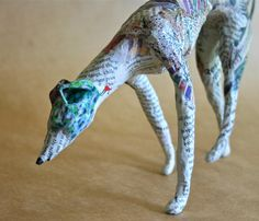 Hound, Whimsical Paper Mache Dog Sculpture - Custom Pieces Available Upon Request