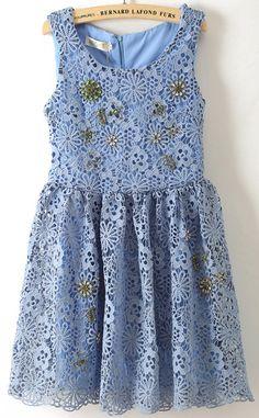 Blue Sleeveless Hollow Floral Crochet Lace Dress - Sheinside.com