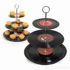Vynils tier cupcake stand via http://www.notonthehighstreet.com/vinylvillage/product/three-tier-vinyl-record-cake-stand
