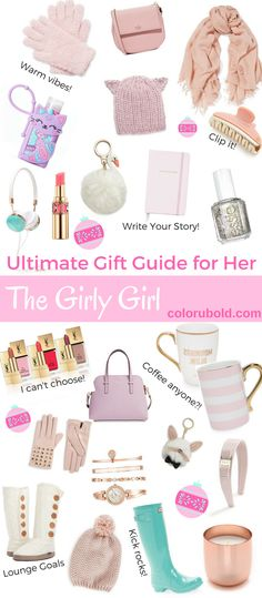The Ultimate Gift Guide for the Girly Girl. Everything you need to get the girl in your life awesome holiday gifts. From teen girl holiday gifts to mom holiday gifts! Add everything to your wishlist!