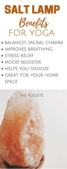 Add a salt lamp to your home yoga space and add benefits to your practice! Yoga for beginners, yoga stress relief, yoga space, home yoga, practice yoga, sacral chakra stone, creative yoga, yoga for beginners, yoga stuff, yoga gear, salt lamp benefits, yoga lifestyle, yoga breathing, improve mood, mindfulness, yoga yoga yoga