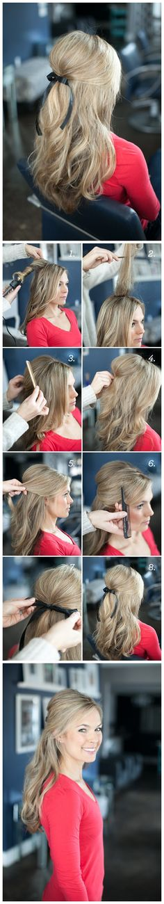 Half up half down bow hairstyle for long hair