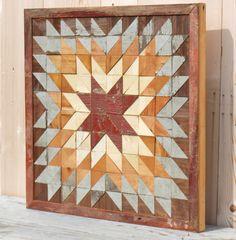 barn quilt block indian star quilt block salvaged wood wall