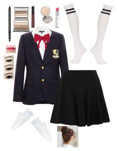 """Korean School Uniform"" by vangafang ❤ liked on Polyvore featuring Enfants Riches Déprimés, Uniqlo, DKNY, Topshop, adidas, Gucci, CARGO, MAC Cosmetics, Lancôme and Pin Show"