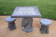 Knight Concrete Chess Table
