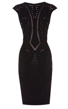 Karen Millen Embroidered and Cutwork Dress in Black | Lyst