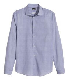 Light blue checked shirt in soft premium cotton with a cutaway collar. Regular fit.   H&M Men's Classics