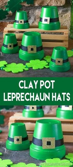 Leprechaun Hats made from clay pots! Make a hat for your entire family for some cute St. Patrick's Day decor!!